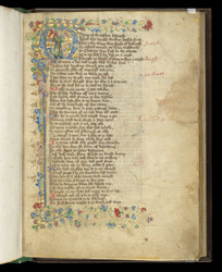 Historiated Initial With Thomas Hoccleve, In John Lydgate's 'Lives Of Sts. Edmund And Fremund' And Other Middle English Texts